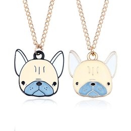 Discount gold dog tags wholesale - Cartoon Animal Choker Necklace Fashion Lovely Enamel Pet Dog Head Charm Pendant Necklaces For Kids Women Girls Gift Whol