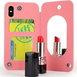 $enCountryForm.capitalKeyWord Canada - Lady Makeup Mirror Wallet phone Case Flip PU Leather TPU Cases Card Slot Stand Holder Back Cover For IPhone X 8 7 6 6S plus Samsung S8