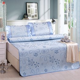 Summer Bedding Sets Canada - Summer cool bed mat set blue flower folding sheet mat pad twin full queen size purple bed cover bedspread Summer home bedding