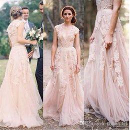 layered tulle wedding dress beach 2018 - Vintage 2018 Blush Lace Beach Garden Wedding Dresses Sexy Deep V Neck Cap Sleeve Layered Reem Acra Lace Long Bridal Gown
