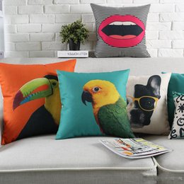 parrot cushions Australia - Parrot Pineapple Pug Dog Deer Cushion Cover 9 Style Sexy Lip 45X45cm 30X50cm Thick Linen Cotton Pillow Covers Bedroom Sofa Decoration