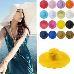 Large brim summer hats online shopping - Sun Straw Beach Hat Cap Women s Large Floppy Folding Wide Brim Cap Beach Panama Hats colors AAA664