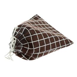 Foldable Flats Wholesale UK - Lattice Printing Foldable Cotton Drawstring Bags 3 Sizes 3 Colors Reusable Bag Unisex Case Pouch Hot Sale