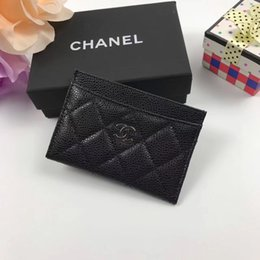 Best Brand leather purses online shopping - black best quality designer cardholder with box women brand Genuine Leather square wallet luxury leather purse women Money wallet A31510