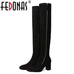 17fd9760bad FEDONAS Sexy Women Tight High Dancing Party Shoes Woman High Heels Long  Warm Winter Snow Boots Ladies Over The Knee Boots