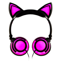 white cosplay ears UK - Foldable Wired Over Ear Kids Headphone with Glowing LED Light for Girls Children Cosplay Fans Cat Ear Headphones