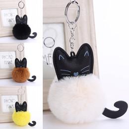 ef6312a952 Kitten handbags online shopping - Hot Sale Keyring Lovely Black Tail Cat  Kitten Keychain Pompom Body