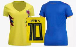 0175261c265 18 19 Womens Colombia Soccer Jerseys Cuadrado James Falcao Football Shirts  2018 World Cup Colombia Ladys Football Tops Female Soccer Uniform