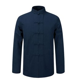 f754e4a6e52 Long Sleeve Cotton Shirt Traditional Chinese Clothes Tang Suit Coat  clothing Kung Fu Tai Chi Uniform Autumn Thin Jacket for Men