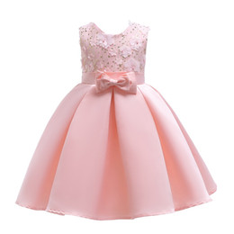 princess style dresses for toddlers UK - 2018 Childrens Pink Beading Flowers Princess Dresses Kids Party Clothes Baby Girls Elegant Dress Toddler Flower Wedding Dress For 100-150cm