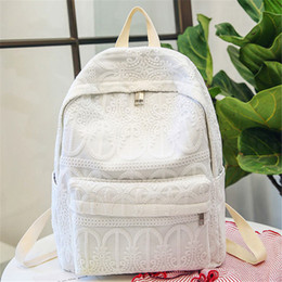 51589aef53fc Женщины Сплошной Цвет Кружева Крючком Рюкзак Высокое Качество Нейлон  Сплошной Белый Леди Рюкзаки Путешествия Вышивка Рюкзак Для Школы Девушка