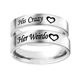 Discount crazy rings - Couple Ring Wedding Band Anniversary Engagement Promise Ring His Crazy Her Weirdo Titanium Steel