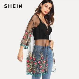 Black Mesh Kimono NZ - SHEIN Flower Embroidered Mesh Kimono Black Boho Longline Sexy Blouse Women Summer Beach Vacation Long Sleeve Plain Kimono