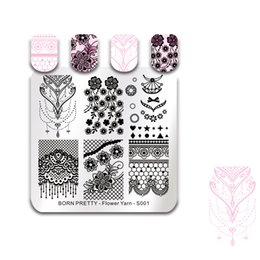 $enCountryForm.capitalKeyWord NZ - BORN PRETTY Stamping Template Square Flower Leaves Lace Bride Nail Art Stamp Plate Flower Yarn Series