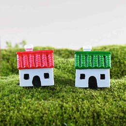 small house decoration Australia - Red Green Small House Resin Handicraft Moss Terrarium Micro Landscape Decoration Bonsai Ornament Fairy Garden Desktop DIY Material Zakka