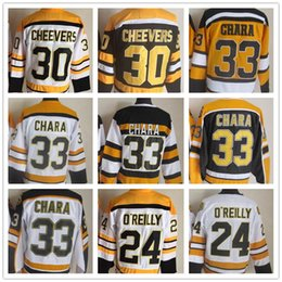 2018 Mens Hockey Jersey 30 CHEEVERS 33 CHARA 24 O REILLY Black White Yellow  CCM Vintage 100% Stitched High Quality Cheap Sport Jerseys 28dd388aa