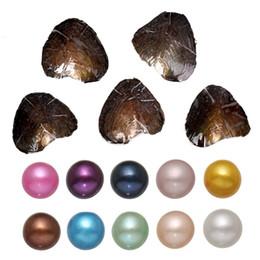 Rund ostron pärla 6-8mm 2018 ny 20 mix färg stor färskvatten present DIY naturlig pärla lösa pärlor dekorationer vakuumförpackning grossist