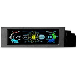 """$enCountryForm.capitalKeyWord UK - 5.25"""" 5 Channel Touchscreen Fan Controller Temperature Monitor Automatic Speed Control Cooler LCD Front Panel"""