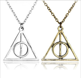 Discount harry potter necklace hallows - Fashion Jewelry The Deathly Hallows triangle Necklace Antique Harry Silver Bronze Gold Deathly Hallows Pendants Potter
