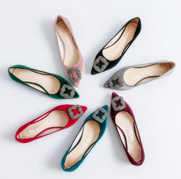 2416cc9c5822 Dress shoes women flats loafers slip on velvet pointed toes shallow square  buckle summer casual single shoes rhinestone ballet pumps
