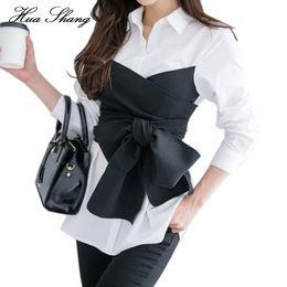 f1dd7e2499642 2017 sommer Korean Fashion Tie Shirt Bluse Weibliche Schwarz Bogen Langarm Weißes  Hemd OL Dame Büro Plus Größe Frauen Tops