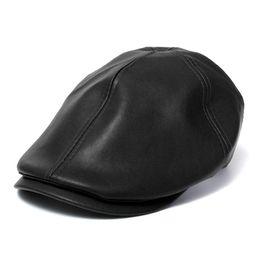 Sombrero de boina de hombre femenino Gorra de cuero Gorro de camionero  Unisex Bonnet Negro e4a05086fb6