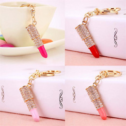 $enCountryForm.capitalKeyWord Canada - New Fashion Crystal Rhinestone Lipstick Keyring Golden Charm Pendant Bag Purse Car Key Chain Gift For Women
