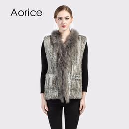 30a9ddff5f Pudi VR004 The new women vest Real Knitted Rabbit Fur Vest With Pocket  Raccoon Fur Collar Waistcoats Women