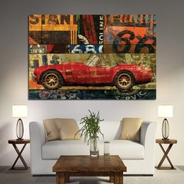 vintage car prints Canada - 1 Piece HD Print Vintage Color Car Motorcycle Street Art Graffiti Abstract Oil Painting on Canvas Poster Wall Picture No Framed