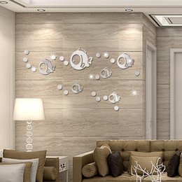 Chinese 3d Wall Stickers Australia - Cartoon Bubble Fish Acrylic Mirror Stickers 3D Wall Stickers Vinyl Decals Murals Waterproof Can Removable Bedroom Living Room Bathroom Decor
