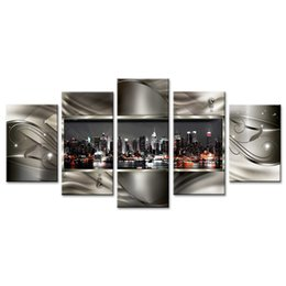 Chinese  5 Pieces Wall Art Painting Contemporary City Canvas Paint Abstract Pictures Geometric City Night View City Artwork Wall Deco on Framed manufacturers