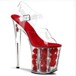 transparent wedding sandals NZ - Hot selling 2018 new stylish sandals wedding shoes red roses for woman transparent pvc shoes high platform bridal shoes