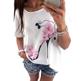 Short White High Heels NZ - 2019 New Women T-shirt Sweet High Heels Pink Floral Print Short Sleeve Summer Women Top White Tees Shirt Clothing