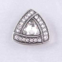 $enCountryForm.capitalKeyWord NZ - Charm Bracelets Silver Snap Fit DIY Rhinestone Snap Buttons Triangle 18mm Cheap Ginger Snap Jewelry