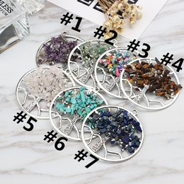 Crystal Chips NZ - Tree of Life 5.8cm 7 Styles DIY Charms Necklace Healing Pendants Chockers Chakra Handmade Crystal Chips Jewelry Charms Necklace S006