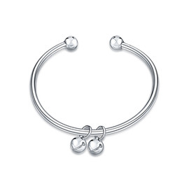 $enCountryForm.capitalKeyWord NZ - New arrivals 925 sterling silver popular simple bell Glossy bangle bracelets fashion jewelry making for women gifts free shipping LKNSPCB279