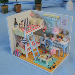 Discount diy kids furniture - 3D Kids Wooden Assemble DIY Doll House Toy Miniatura Doll Houses Furniture Kits Girls Living Room Decor Birthday Gift T3