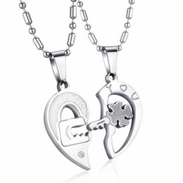 f0aa7ae4dc Mens Womens 2pcs Stainless Steel Puzzle CZ Love Matching Heart Lock And Key  Lucky Four Leaf Clover Couple Pendant Lover Necklace Gifts