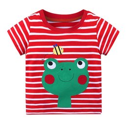 $enCountryForm.capitalKeyWord NZ - Summer New Stripes T-shirt Cotton Shirt Children Boys and Girls short-sleeved T-shirt Funny Animal T-shirt Cartoon Frog Pattern Tops