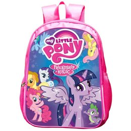 pony girl cartoon UK - Portable Pony Princess Schoolbag Children Backpack Pupils Lightening Shoulder Bag Girls Fashion School Bag Free Shiipping
