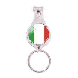 $enCountryForm.capitalKeyWord UK - 2018 Fashion Italy Flag Multifunctional Keychain Art Hand Craft Nail Clipper Keyring Silver Glass Photo Jewelry Nail Clippers