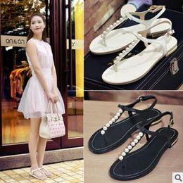 c6f6535f630828 Brand women s sandals 2017 summer beaded stone pearl female sandals Rome  flat sandwich toe women s sandals flat wedding shoes