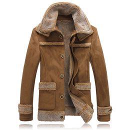 Wholesale mens leather parkas resale online – Winter Jackets Men Fur Collar Plus velvet thicker Mens Parka Thick Man Warm Winter Army Coat Velvet Parka Men Big Size JK1162