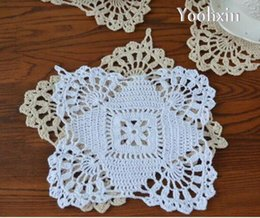 CroChet square doilies online shopping - New Handmade Cotton Place table mat lace pad cloth crochet placemat doilies cup mug holder Christmas coaster kitchen tableware