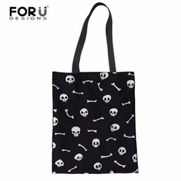$enCountryForm.capitalKeyWord NZ - FORUDESIGNS Women Canvas Handbag Cool Skull Printed Travel Shoulder Bags Causal Lady Handbags Female Cotton Shoulder Tote Bags