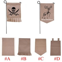 Wholesale 31 cm Burlap Garden Flag DIY Jute Ruffles Linen Yard Hanging Flag House Decoration Portable Banner Styles In Stock