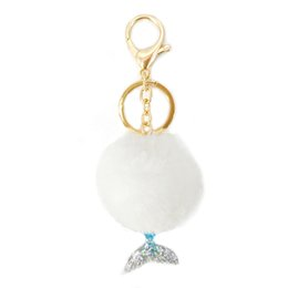 Chinese  1Pc Mermaid Tail Keychain Fur Pompom Ball Key Chains Decorative Pendant Women Bag Car Key Ornaments Jewelry Mom Gifts 5 Colors manufacturers