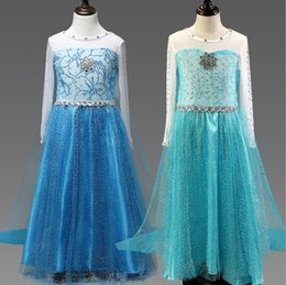 Wholesale Christmas Tutus Australia - Baby girls christmas dress blue color long sleeve childen veil floor-length tutu skirts kids cosplay dress up with rhinestones