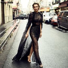 Discount prom wraps jacket shawl - GiayMus Design Black Sheath Evening Dresses 2018 O Neck Hem Back Split Luxury Prom Dresses Feather Sequins Shawl Illusio