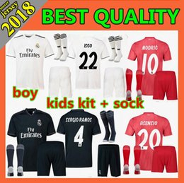 8aee508aa 2018 Kids kits Real madrid soccer Jerseys 18 19 CR7 RONALDO BALE ISCO RAMOS  Asensio home away youth child Football Shirt